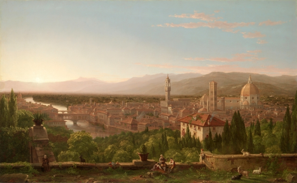 Thomas Cole – The Cleveland Museum of Art 1961.39. Title: View of Florence. Date: 1837. Materials: oil on canvas. Dimensions: 99.5 x 160.4 cm. Nr.: 1961.39. Source: http://www.clevelandart.org/art/1961.39. I have changed the light and contrast of the original photo.