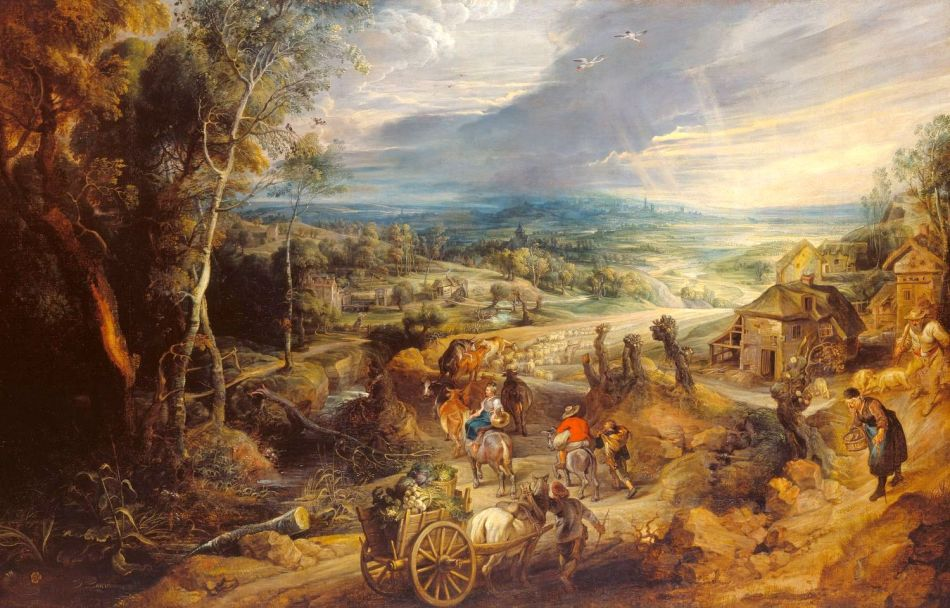 Peter Paul Rubens – The Royal Collection RCIN 401416. Title: Summer: Peasants Going to Market. Date: c. 1618. Materials: oil on canvas. Dimensions: 125.3 x 163.8 cm. Nr.: RCIN 401416. Source: https://www.royalcollection.org.uk/collection/search#/4/collection/401416/summer-peasants-going-to-market. I have changed the light and contrast of the original photo.