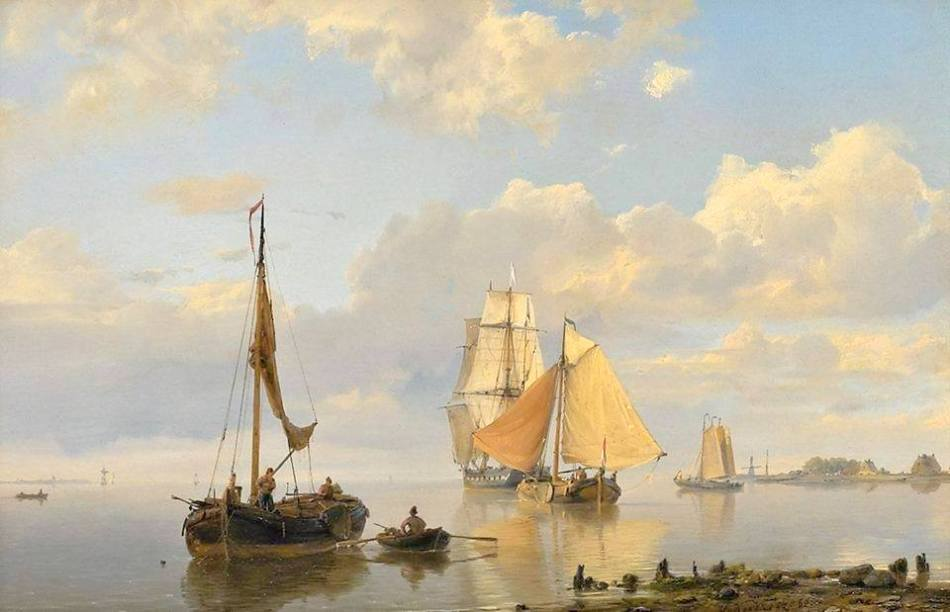 Hermanus Koekkoek – private collection. Title: Boats on the Nieuwer-Amstel river. Date: 1860. Materials: oil on canvas. Dimensions: 23.4 x 35.8 cm. Source: http://img.memit.com/1031260/42bfd4e21fbb206ea87bbeb67c886952.jpg. I have changed the light and contrast of the original photo.