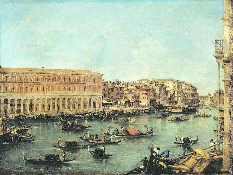 Francesco Guardi – Pinacoteca di Brera Reg. Cron. 665. Title: View of the Grand Canal with the New Buildings at Rialto. Date: c. 1756-1760. Materials: oil on canvas. Dimensions: 56 x 75 cm. Nr.: Reg. Cron. 665. Source: http://pinacotecabrera.org/en/collezione-online/opere/veduta-del-canal-grande-con-le-fabbriche-nuove-di-rialto/. I have changed the light and contrast of the original photo.