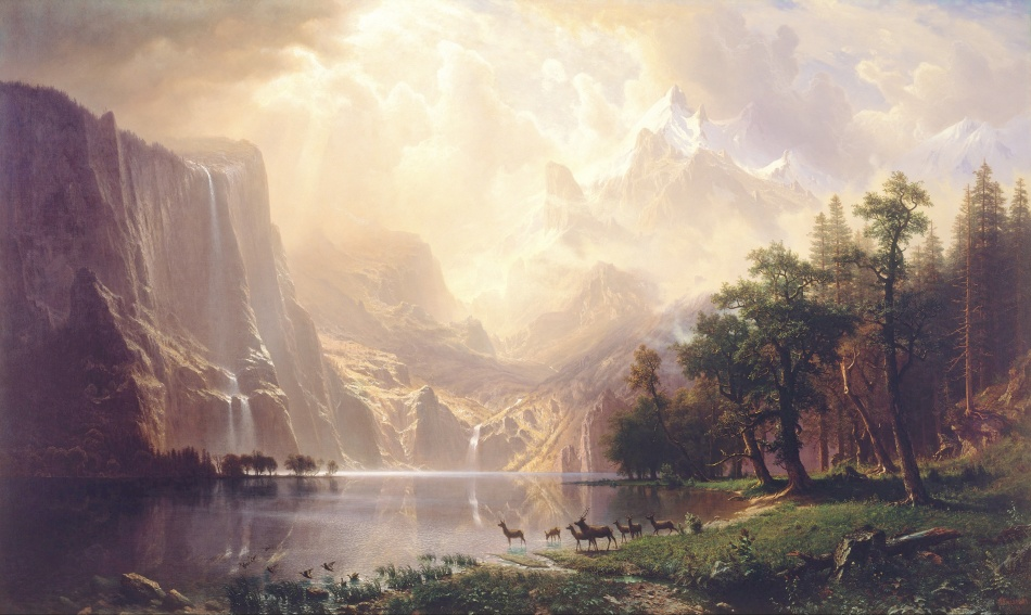 Albert Bierstadt – Smithsonian American Art Museum 1977.107.1. Title: Among the Sierra Nevada, California. Date: 1868. Materials: oil on canvas. Dimensions: 183 x 305 cm. Nr.: 1977.107.1. Source: https://commons.wikimedia.org/wiki/File:Albert_Bierstadt_-_Among_the_Sierra_Nevada,_California_-_Google_Art_Project.jpg. I have changed the light and contrast of the original photo.