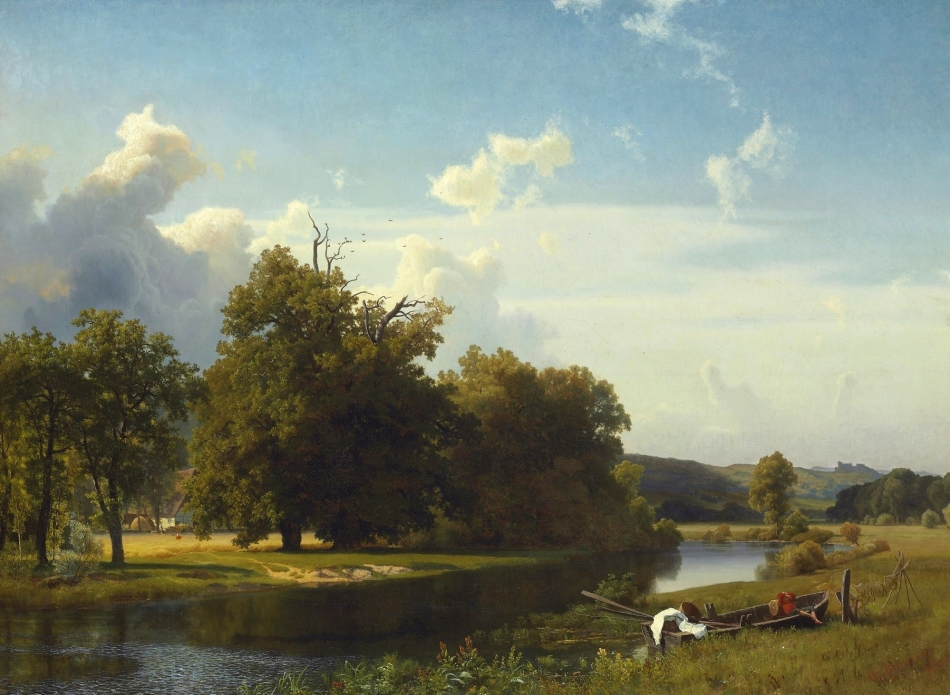 Albert Bierstadt – private collection. Title: A River Landscape, Westphalia. Date: 1855. Materials: oil on canvas. Dimensions: 109.9 x 149.9 cm. Inscriptions: A. Bierstadt/1855 (lower right). Sold by Christie's in New York, on December 4, 2008. Source: https://commons.wikimedia.org/wiki/File:Bierstadt_Albert_Westphalia.jpg. I have changed the light and contrast of the original photo.