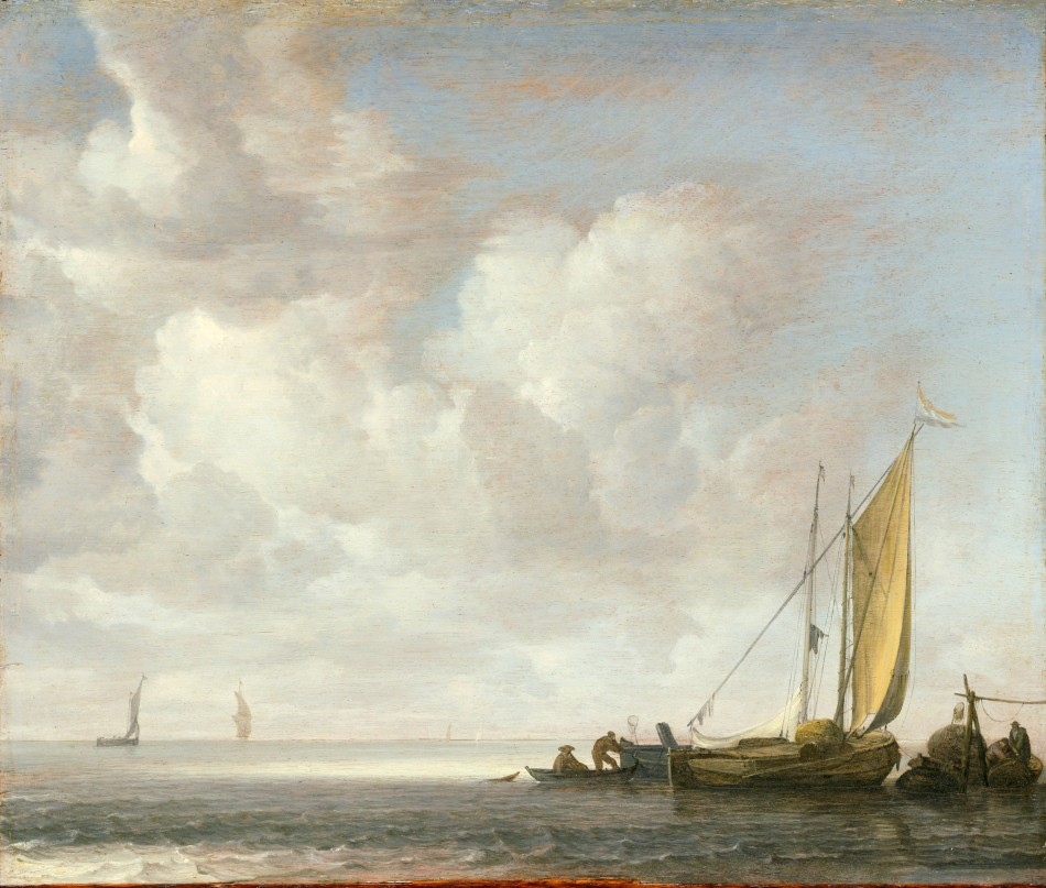 Simon de Vlieger – The Metropolitan Museum of Art 06.1200. Title: Calm Sea. Date: c. 1640s. Materials: oil on wood. Dimensions: 37.5 x 55.4 cm. Nr.: 06.1200. Source: http://images.metmuseum.org/CRDImages/ep/original/DP147592.jpg. I have changed the light and contrast of the original photo.