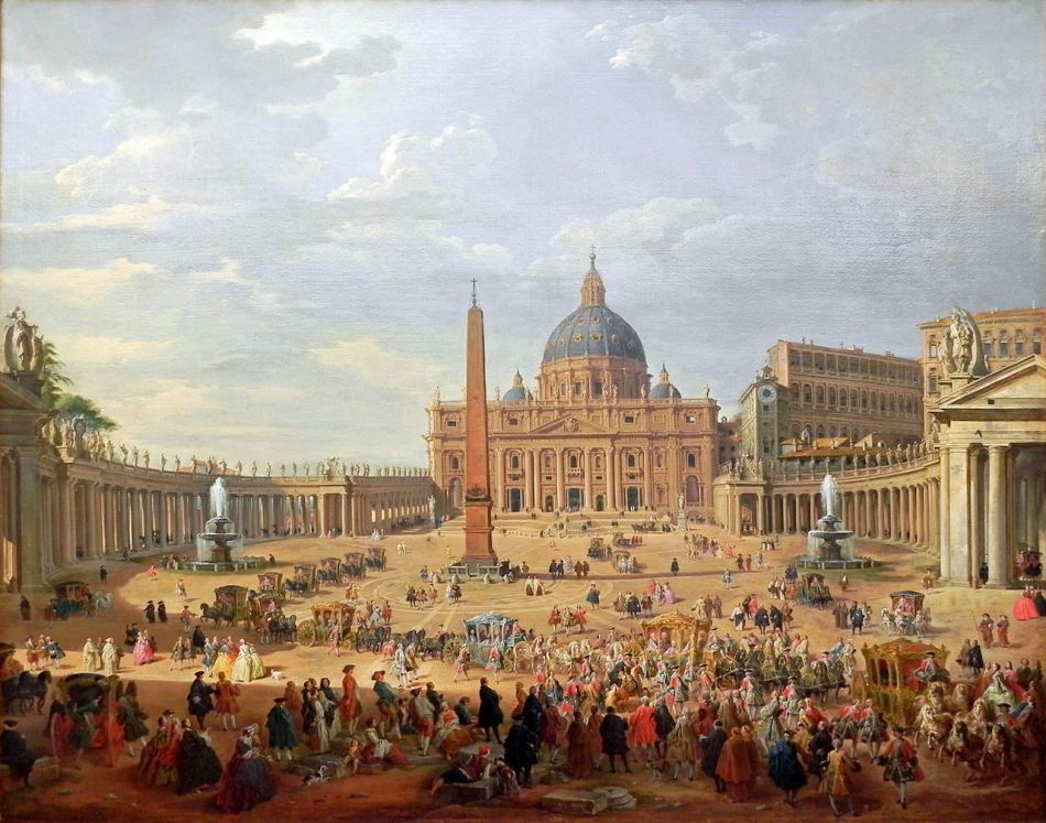 Giovanni Paolo Panini – Gemäldegalerie Berlin Kat. Nr. 80.2. Title: Departure of the Duc de Choiseul from the Piazza di San Pietro. Date: 1754. Materials: oil on canvas. Dimensions: 152 x 195 cm. Nr.: Kat.Nr. 80.2. Source: https://commons.wikimedia.org/wiki/File:Giovanni_Paola_Panini_Die_Ausfahrt_des_Duc_de_Choiseul.JPG. I have changed the light, contrast and colors of the original photo.