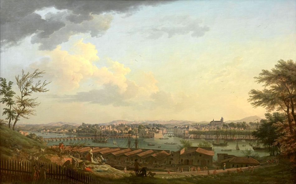 Claude Joseph Vernet – Musée national de la Marine 	inv. 8303. Title: Vue de Bayonne, prise à mi-côte sur le Glacis de la Citadelle. Date: 1760. Materials: oil on canvas. Dimensions: 164.8 x 263.4 cm. Nr.: inv. 8303. Source: http://bdidier.fr/wp-content/uploads/num-5-OA-7-D-c-0611-H.jpg. I have changed the light and contrast of the original photo.