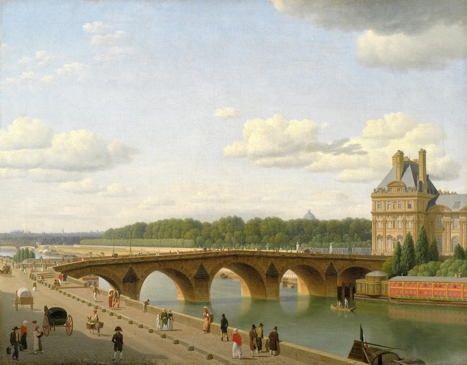 Christoffer Wilhelm Eckersberg - Statens Museum for Kunst KMS124. Title: Udsigt ved Pont Royal fra Quai Voltaire i Paris. Date: 1812. Materials: oil on canvas. Dimensions: 55.5 x 71 cm. Acquisition date: 1899. Nr.: KMS124. Source: http://img.over-blog-kiwi.com/0/85/88/28/20160708/ob_e5ed31_6-pont-royal-smk.jpg. I have modified the light and constast of the original foto.