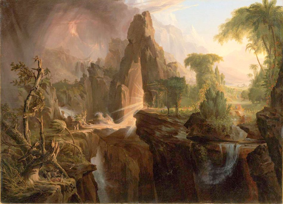 Thomas Cole – Museum of Fine Arts (Boston) 47.1188. Title: Expulsion from the Garden of Eden. Date: 1828. Materials: oil on canvas. Dimensions: 101 x 138.4 cm. Nr.: 47.1188. Source: http://www.mfa.org/collections/object/expulsion-from-the-garden-of-eden-33060. I have changed the light and contrast of the original photo.