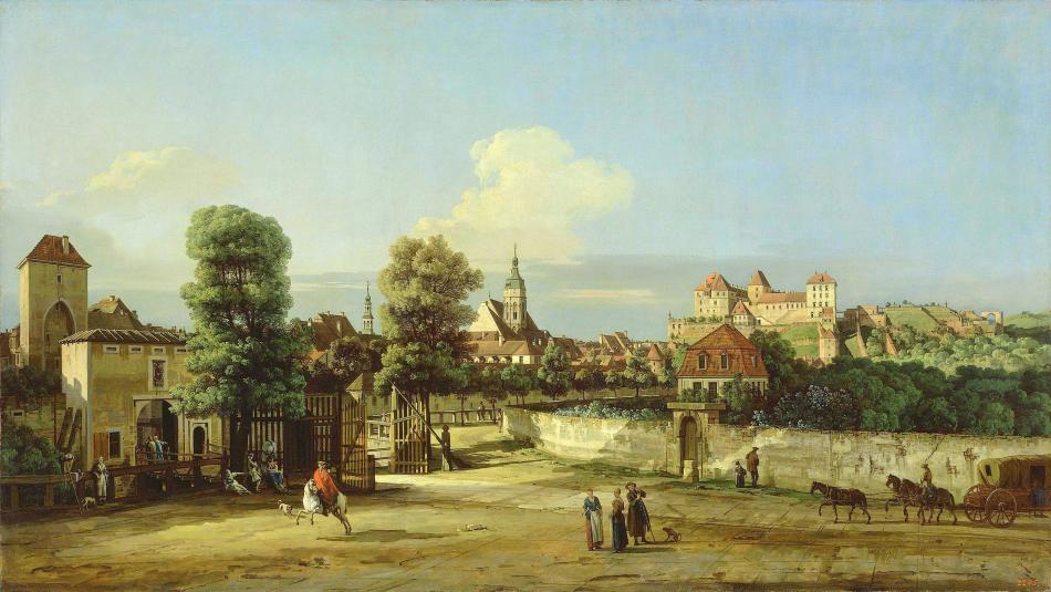 Bernardo Bellotto – The Hermitage Museum ГЭ-213. Title: View of Pirna from the West, from the Corner of Wide Street. Date: 1750s. Materials: oil on canvas. Dimensions: 134.5 x 239 cm. Nr.: ГЭ-213. Source: http://www.hermitagemuseum.org/wps/portal/hermitage/digital-collection/01.+Paintings/32296/?lng=en. I have changed the light, contrast and colors of the original photo.