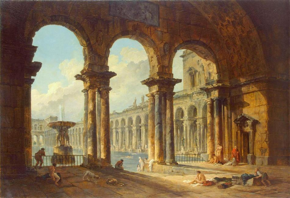 Hubert Robert – The Hermitage Museum ГЭ-1262 . Title: Ancient Ruins Used as Public Baths. Date: 1798. Materials: oil on canvas. Dimensions: 133 x 194 cm. Nr.: ГЭ-1262. Source: http://www.hermitagemuseum.org/wps/portal/hermitage/digital-collection/01.+Paintings/37563/?lng=en. I have changed the light, contrast and colors of the original photo.