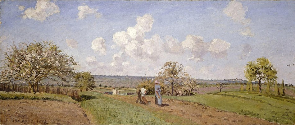 Camille Pissaro – private collection. Title: Le Printemps. Date: 1872. Materials: oil on canvas. Dimensions: 55 x 130 cm. Source: https://www.flickr.com/photos/47934977@N03/16715312148/sizes/l. I have changed the light and contrast of the original photo.