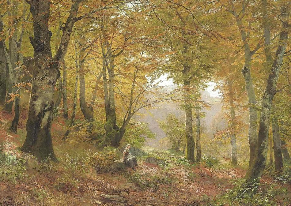 Heinrich Böhmer – private collection. Title: A Woodland Glade. Date: c. 1870-1930. Materials: oil on board. Dimensions: 73 x 103.2 cm. Inscriptions: H Bröhmer (lower left). Source http://artsalesindex.artinfo.com/auctions/Heinrich-Bohmer-5378491/A-Woodland-glade. have changed the light and contrast of the original photo.