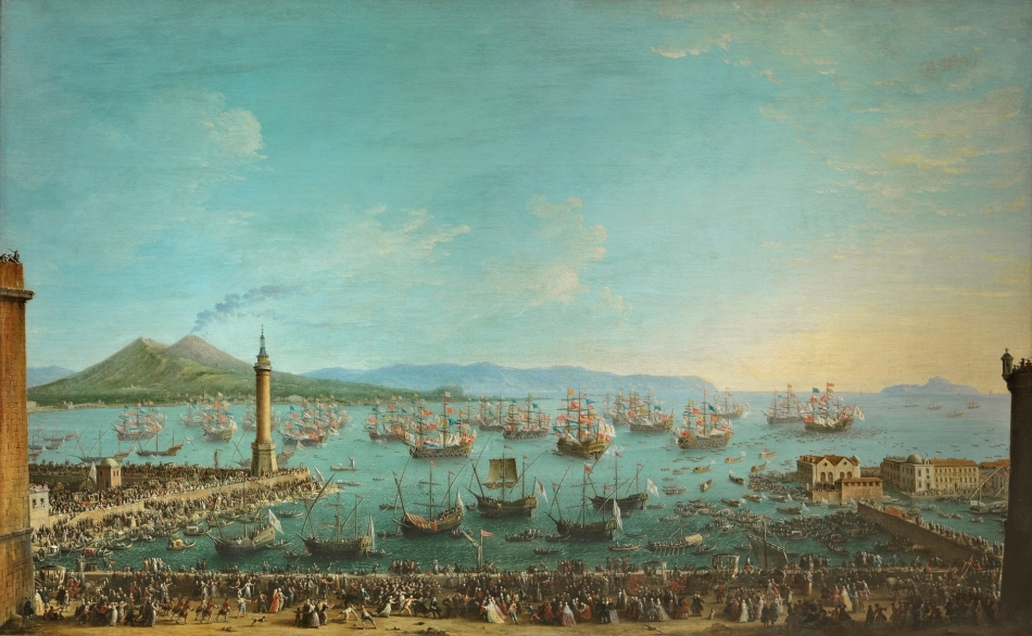 Antonio Joli – Museo del Prado P00232. Title: Partida de Carlos de Borbón a España, vista desde la dársena. Date: 1759. Materials: oil on canvas. Dimensions: 128 x 205 cm. Acquisition date: 1982. Nr. P00232.  Source: https://www.museodelprado.es/coleccion/obra-de-arte/partida-de-carlos-de-borbon-a-espaa-vista-desde/952abb29-c741-4ba1-88d2-6b87092dc1b1. I have changed the light and contrast of the original photo.