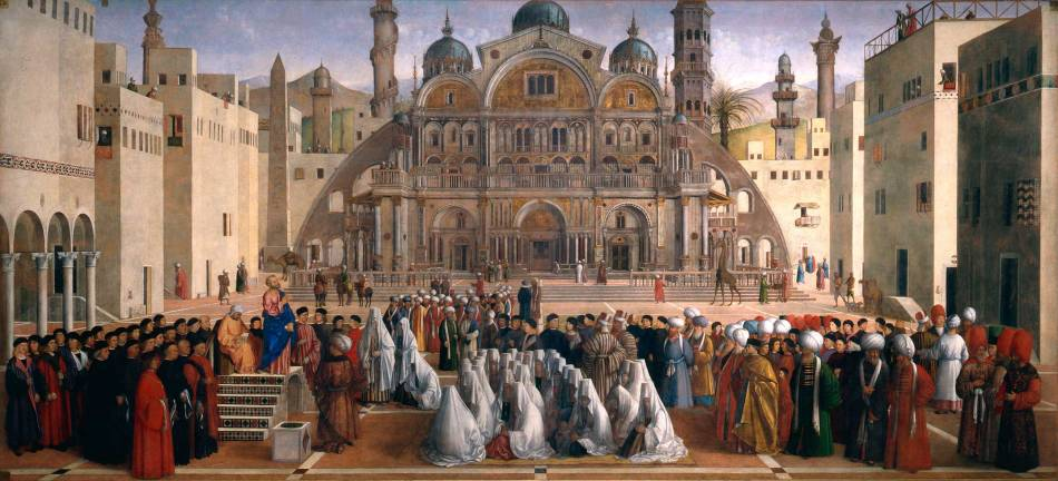 Gentile Bellini and Giovanni Bellini – Pinacoteca di Brera 160. Title: Saint Mark Preaching in a Square of Alexandria in Egypt. Date: 1504-1507. Materials: oil on canvas. Dimensions: 347 x 770 cm. Nr.: 160. Source http://pinacotecabrera.org/en/collezione-online/opere/saint-mark-preaching-in-a-square-of-alexandria-in-egypt/.