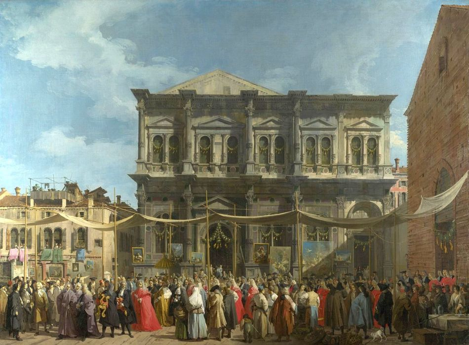 Canaletto – The National Gallery (London) NG937. Title: Venice: The Feast Day of Saint Roch. Date: c. 1735. Materials: oil on canvas. Dimensions: 147.7 x 199.4 cm. Nr. NG937:  Source https://commons.wikimedia.org/wiki/File:Giovanni_Antonio_Canal,_il_Canaletto_-_The_Feast_Day_of_St_Roch_-_WGA03905.jpg. I have changed the light and contrast of the original photo.