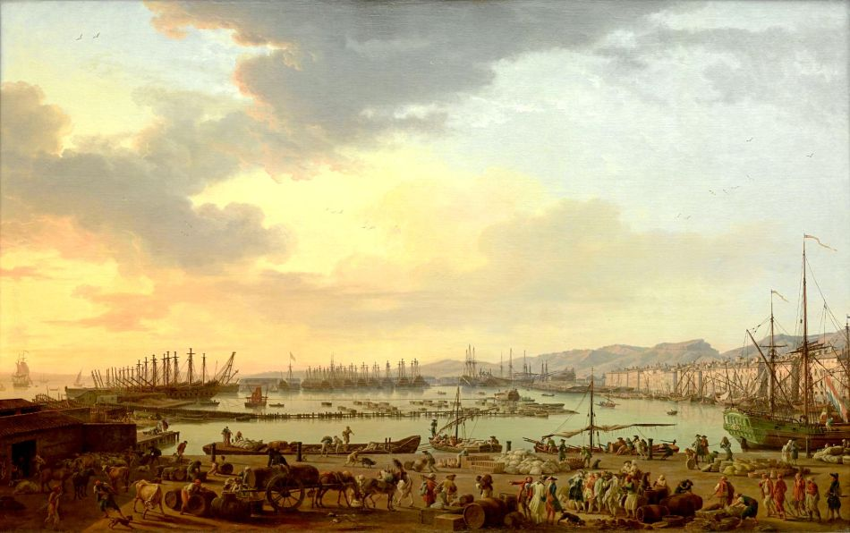 Claude-Joseph Vernet – Musée national de la Marine inv. 8298. Title: 	 Le Port vieux de Toulon. La vue est prise du côté des Magasins aux vivres. Date: 1756. Materials: oil on canvas. Dimensions: 165 x 263 cm. Nr.: inv. 8298. Source: http://mnm.webmuseo.com/ws/musee-national-marine/app/file/download/num-5-OA-1-D-b-0711-H.jpg?key=740fb9z4eh5udzdpy1loc3700htk8heqp&thumbw=2000&thumbh=1500. I have changed the light and contrast of the original photo.