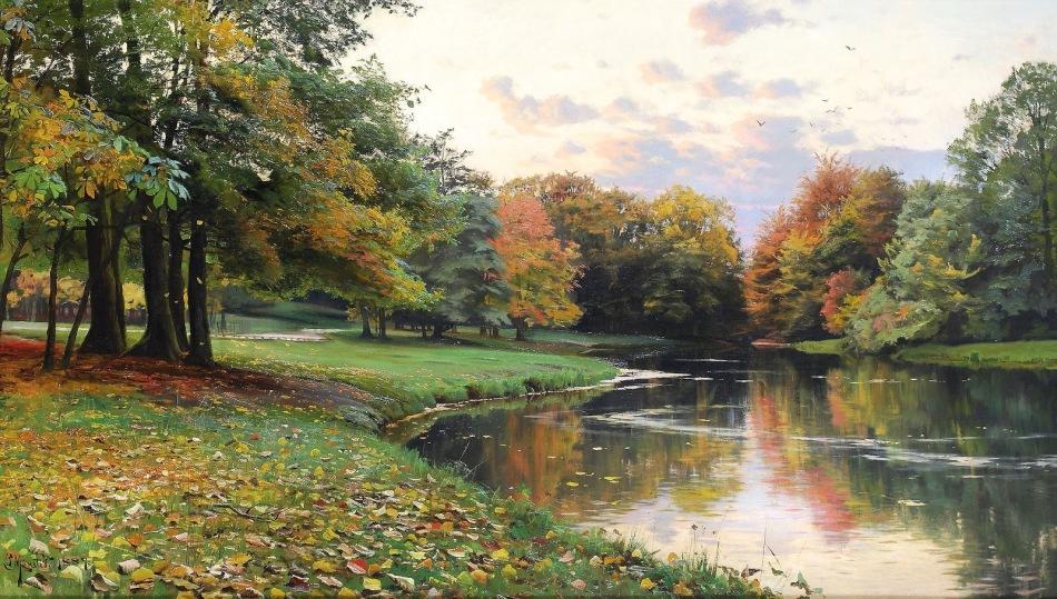 Peder Mørk Mønsted – private collection. Title: An Autumn Landscape. Date: 1889. Materials: oil on canvas. Dimensions: 67.5 x 119 cm. Source https://3.bp.blogspot.com/-ko5Lli2G7VQ/V1Bi9HEzfZI/AAAAAAAAcvQ/OcBmhXdllaQUJSs5i4INyb_bC72kFzWZACLcB/s1600/PEDER%2BMORK%2BMONSTED%2B-%2BPaisagem%2Bde%2Boutono%2B-%2B%25C3%2593leo%2Bsobre%2Btela%2B-%2B67%252C5%2Bx%2B119%2B-%2B1889.jpg