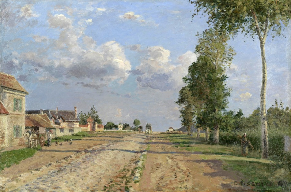 Camille Pissaro – The Van Gogh Museum s0512S2006. Title: Route de Versailles, Rocquencourt. Date: 1871. Materials: oil on canvas. Dimensions: 51.5 x 76.7 cm. Inscriptions: C. Pissarro. Nr.: s0512S2006. Source https://www.vangoghmuseum.nl/en/collection/s0512S2006. I have changed the contrast of the original photo.