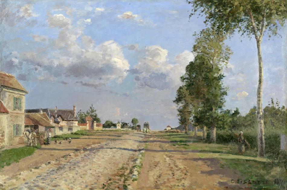 Camille Pissaro – The Van Gogh Museum s0512S2006. Title: Route de Versailles, Rocquencourt. Date: 1871. Materials: oil on canvas. Dimensions: 51.5 x 76.7 cm. Inscriptions: C. Pissarro. Nr.: s0512S2006. Source https://www.vangoghmuseum.nl/en/collection/s0512S2006. I have changed the contrast of the original photo.