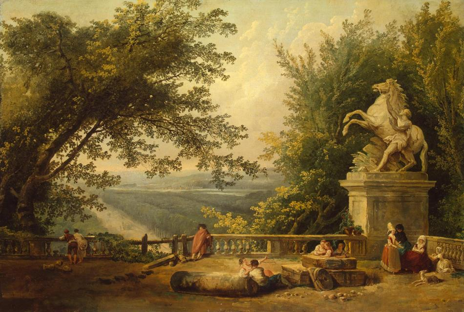 Hubert Robert – The Hermitage Museum ГЭ-5647. Title: Ruins on the Terrace in Marly Park. Date: early 1780s. Materials: oil on canvas. Dimensions: 59 x 87 cm. Nr.: ГЭ-5647. Source http://www.hermitagemuseum.org/wps/portal/hermitage/digital-collection/01.+Paintings/37945/?lng=enI have changed the light and contrast of the original photo.