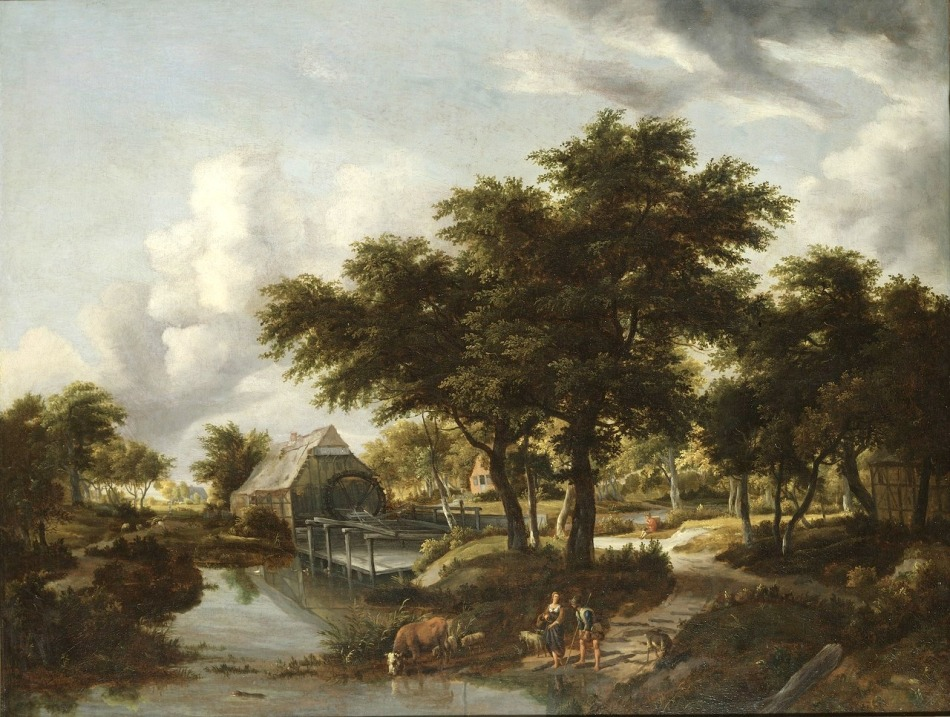 Meindert Hobbema – Nationalmuseum (Stockholm) NM 6741. Title: Wooded Landscape with a Watermill. Date: between 1663 and 1668. Materials: oil on canvas. Dimensions: 99 x 129 cm. Acquisition date: 1982. Nr. NM 6741:  Source https://commons.wikimedia.org/wiki/File:Wooded_Landscape_with_a_Watermill_(Meindert_Hobbema)_-_Nationalmuseum_-_23790.tif. I have changed the light and contrast of the original photo.