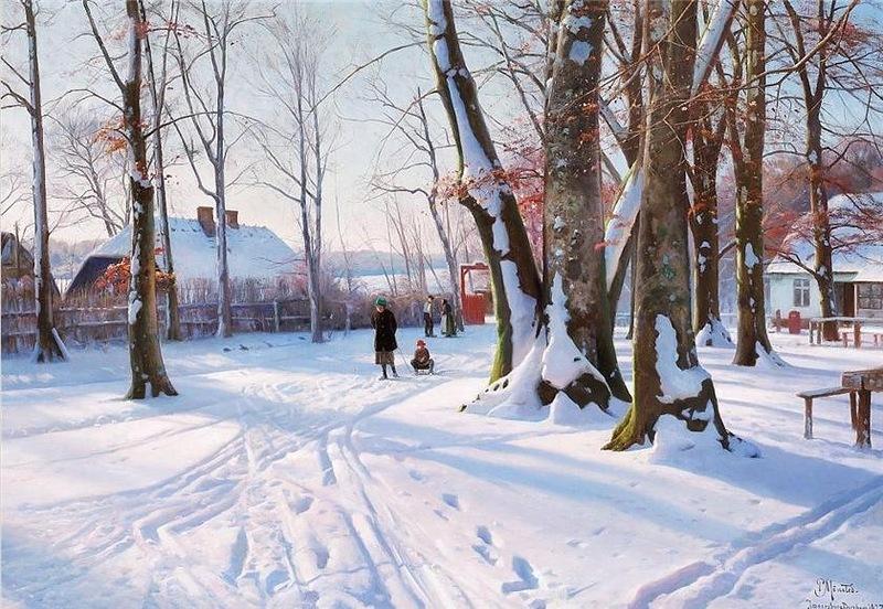 Peder Mørk Mønsted – private collection. Title: Solklar vinterdag ved Posemandens hus. Date: 1927. Materials: oil on canvas. Dimensions: 101 x 70 cm. Source: http://img-fotki.yandex.ru/get/6107/133671325.1f8/0_84af8_604a54b4_XL.jpg.