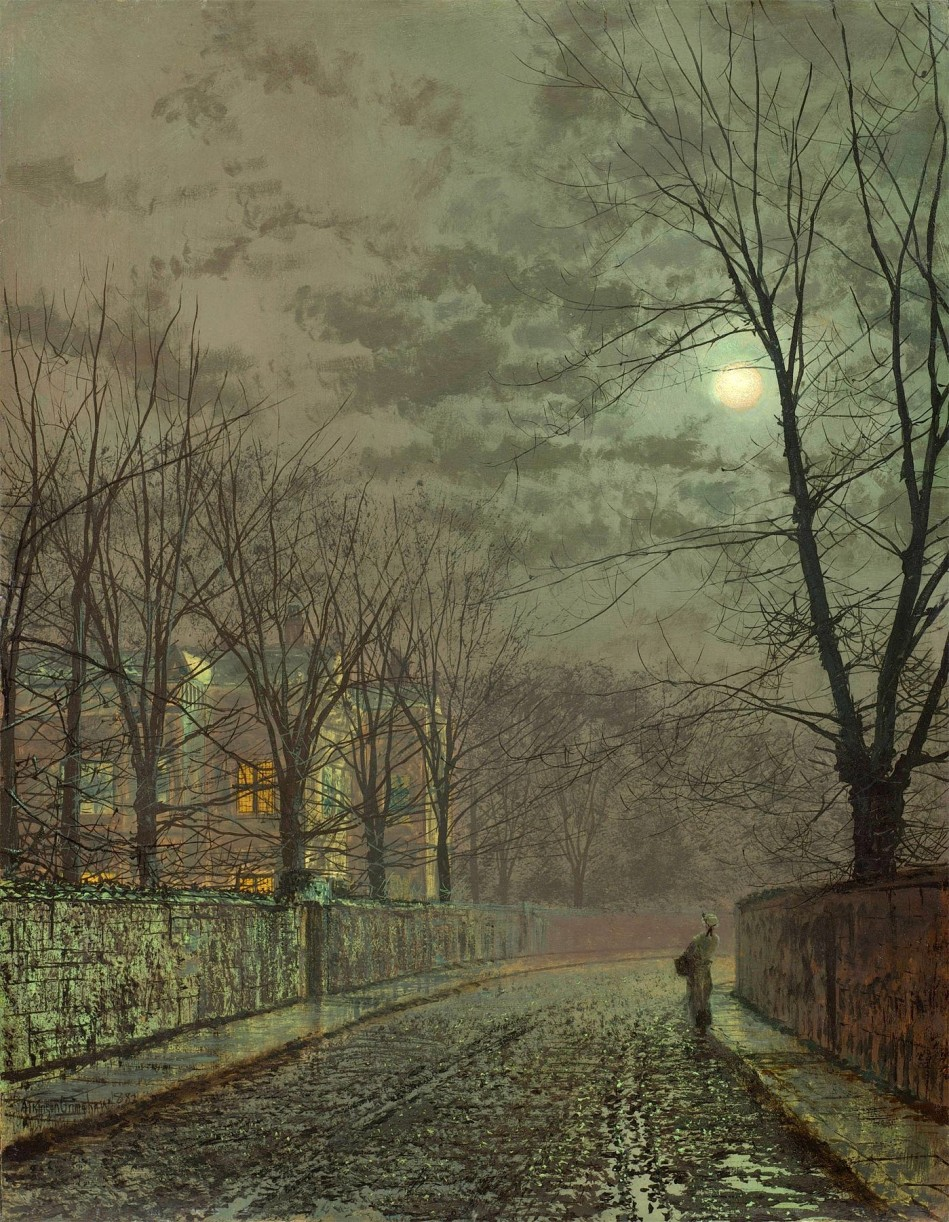 John Atkinson Grimshaw – private collection. Title: Under the Moonbeams, Knostrop Hall. Date: 1882. Materials: oil on board. Dimensions: 46.4 x 36.2 cm. I have changed the light and contrast of the original photo.