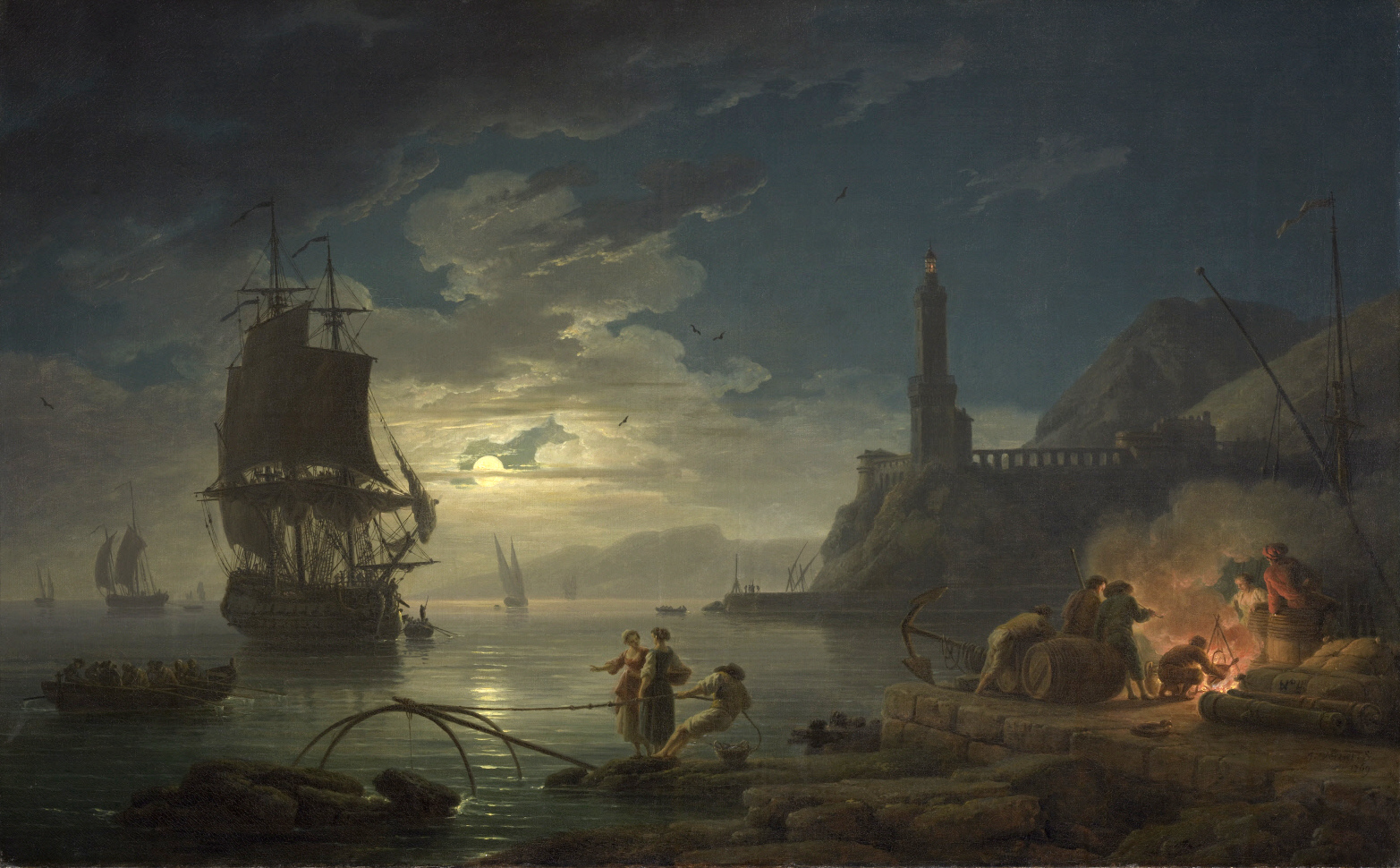 Claude-Joseph Vernet – The Clark Museum 1977.17 . Title: Coastal Scene in Moonlight. Date: 1769. Materials: oil on canvas. Dimensions: 81.3 x 130.8 cm. Nr.: 1977.17. Source: http://www.clarkart.edu/Collection/3010. I have changed the light and contrast of the original photo.