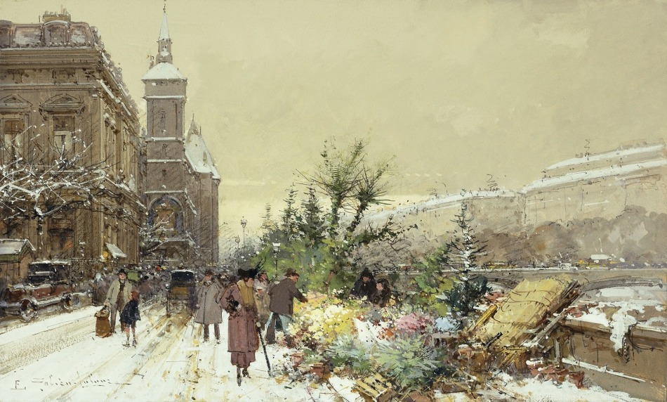 Eugène Galien-Laloue – private collection. Title: Flower Market in Paris. Date: c. 1910-1920. Materials: gouache. Dimensions: ? Source: https://k60.kn3.net/taringa/8/F/8/4/0/4/Von_tess/3AB.jpg.