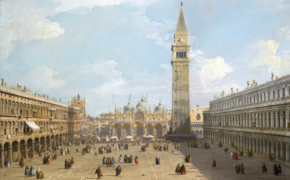 Canaletto – private collection. Title: Venice. The Piazza San Marco Looking East Towards the Basilica. Date: c. 1730. Materials: oil on canvas. Dimensions: 58.5 x 92 cm. Source: http://www.sothebys.com/content/dam/stb/lots/L14/L14036/4234M09_7BFR5.jpg. I have changed the light and contrast of the original photo.