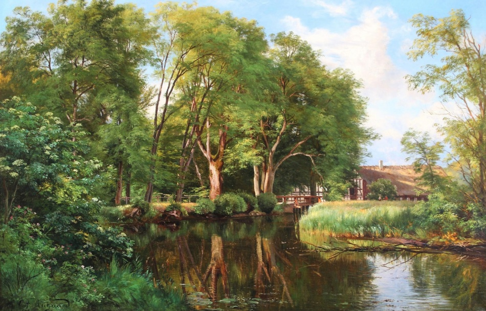 Carl Frederik Peder Aagaard – private collection. Title: Forest Scenery with a House by a Stream. Date: c. 1850s-1880s. Materials: oil on canvas. Dimensions: 77.5 x 118 cm. Source: http://s019.radikal.ru/i611/1602/dd/994ac163b0f1.jpg. I have changed the light and contrast of the original photo.