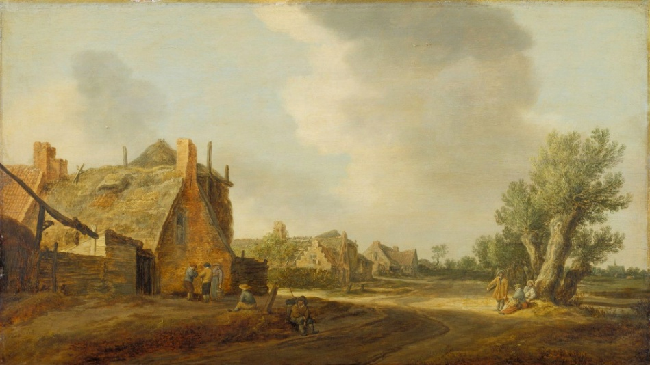 Jan van Goyen – Städel Museum 1236. Title: Dorfstraße. Date: 1628. Materials: oil on panel. Dimensions: 63 x 35.7 cm. Acquisition date: 1892. Nr.: 1236. I have changed the light and contrast of the original photo.