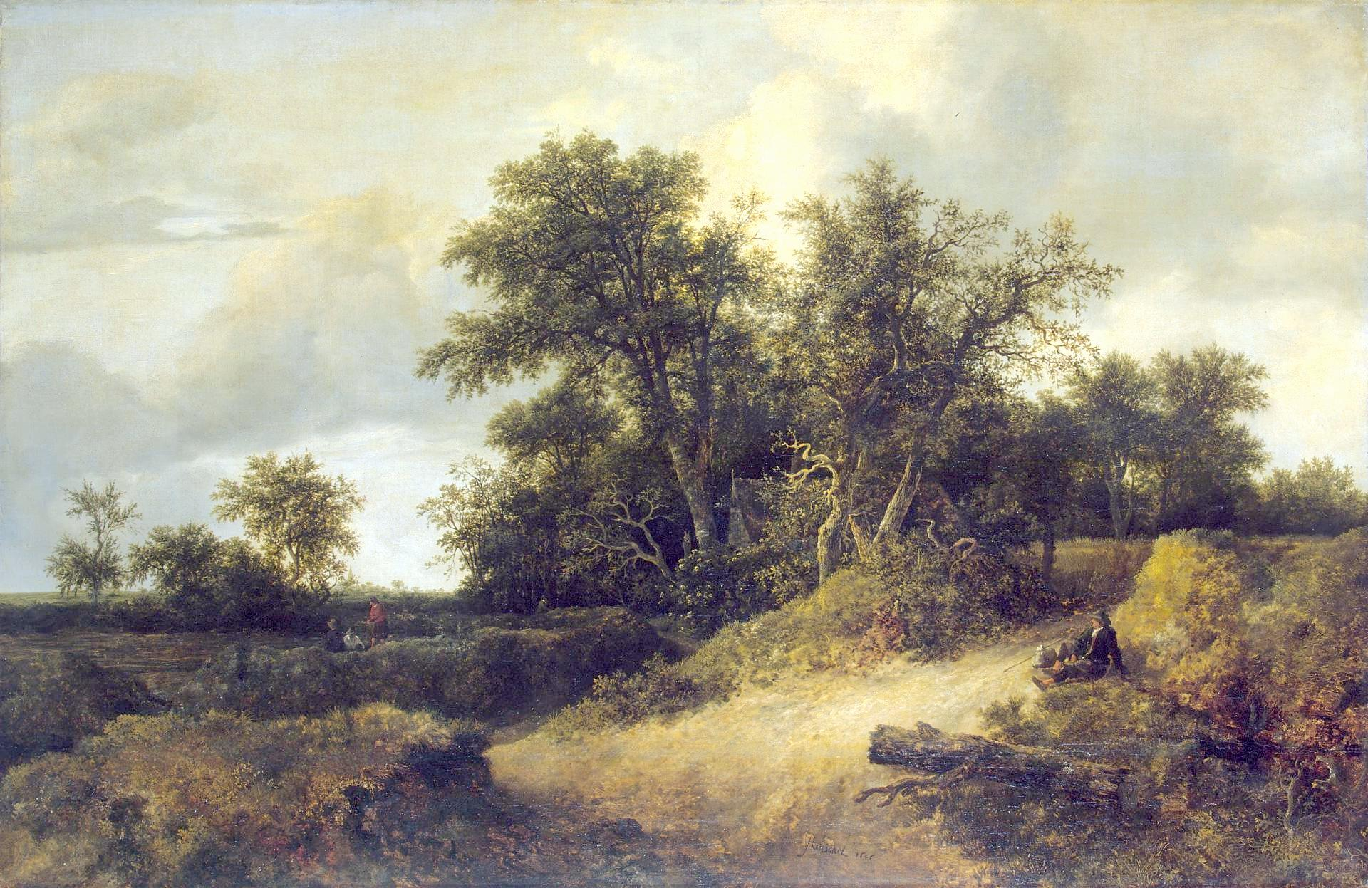 Jacob van Ruisdael – The Hermitage Museum ГЭ-939. Title: Peasant Cottage in a Landscape. Date: 1646. Materials: oil on canvas. Dimensions: 105 x 163 cm. Nr.: ГЭ-939. I have changed the light, contrast and colors of the original photo.