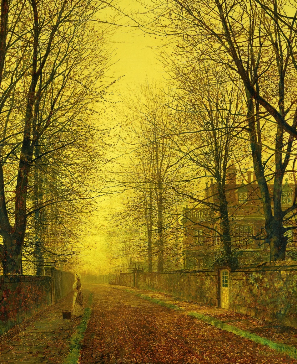 John Atkinson Grimshaw – private collection. Title: In Autumn's Golden Glow. Date: c. 1880s. Materials: oil on canvas. Dimensions: 76 x 63.5 cm. Sold by Sotheby's in London, on November 15, 2011. Source: http://www.sothebys.com/content/dam/stb/lots/L11/L11133/053L11133_67L5L.jpg. I have changed the light, and colors of the original photo.