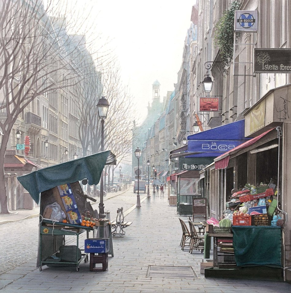 Thierry Duval – private collection. Title: Un marché des 4 saisons rue Montmartre. Date: after 2010. Materials: watercolor. Dimensions: 40 x 40 cm. Source: http://www.galerie-com.com/oeuvre/-un-marche-des-4-saisons-rue-montmartre-/211569/