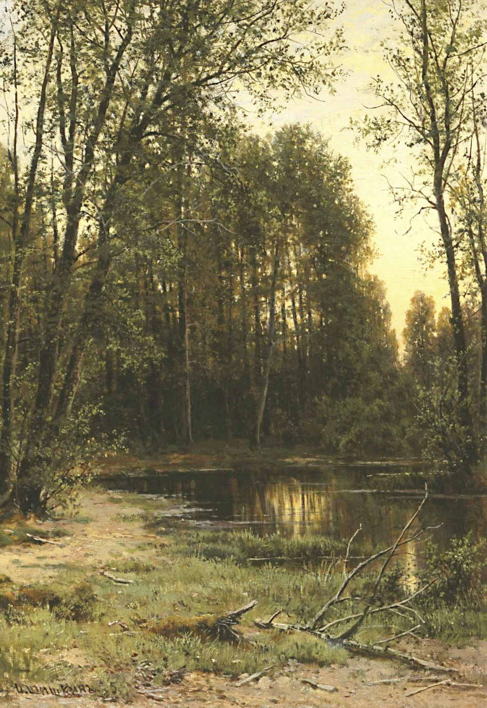 Ivan Shishkin – The Tretyakov Gallery Ж-276. Title: Речная заводь в лесу/River Backwater In The Forest. Date: 1889-1890. Materials: oil on canvas. Dimensions: ? Nr. Ж-276: Source: http://www.art-catalog.ru/data_picture_2016/picture/3/11364.jpg. I have changed the light, contrast and colors of the original photo.