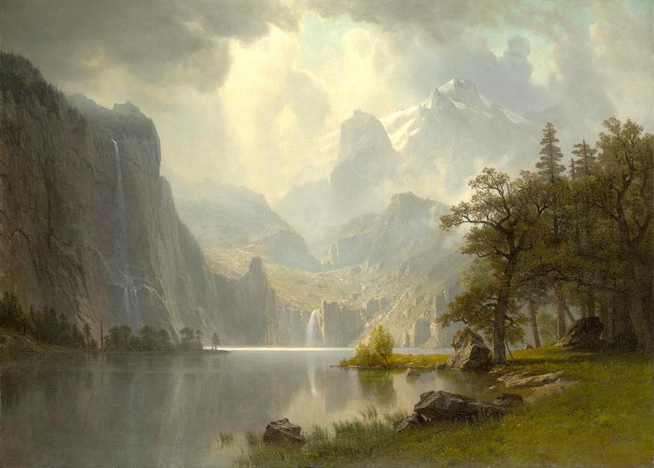 Albert Bierstadt – Wadsworth Athenaeum 25.253. Title: In the Mountains. Date: 1867. Materials: oil on canvas. Dimensions: ? Nr.: 25.253.  Source: http://argus.wadsworthatheneum.org/Wadsworth_Atheneum_ArgusNet/ViewImage.aspx?template=Image&field=DerivedIm3&hash=5e176c4861388b6fd074571f3efa3809&lang=en-US. I have changed the light and contrast of the original photo.