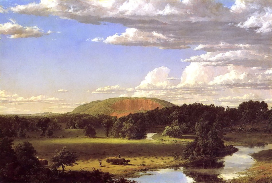 Frederic Edwin Church - New Britain Museum of American Art. Title: West Rock, New Haven. Date: 1849. Materials: oil on canvas. Dimensions: 67.3 x 101.6 cm. Source: http://i078.radikal.ru/1404/0a/6546408f409b.jpg. I have changed the light of the original photo.