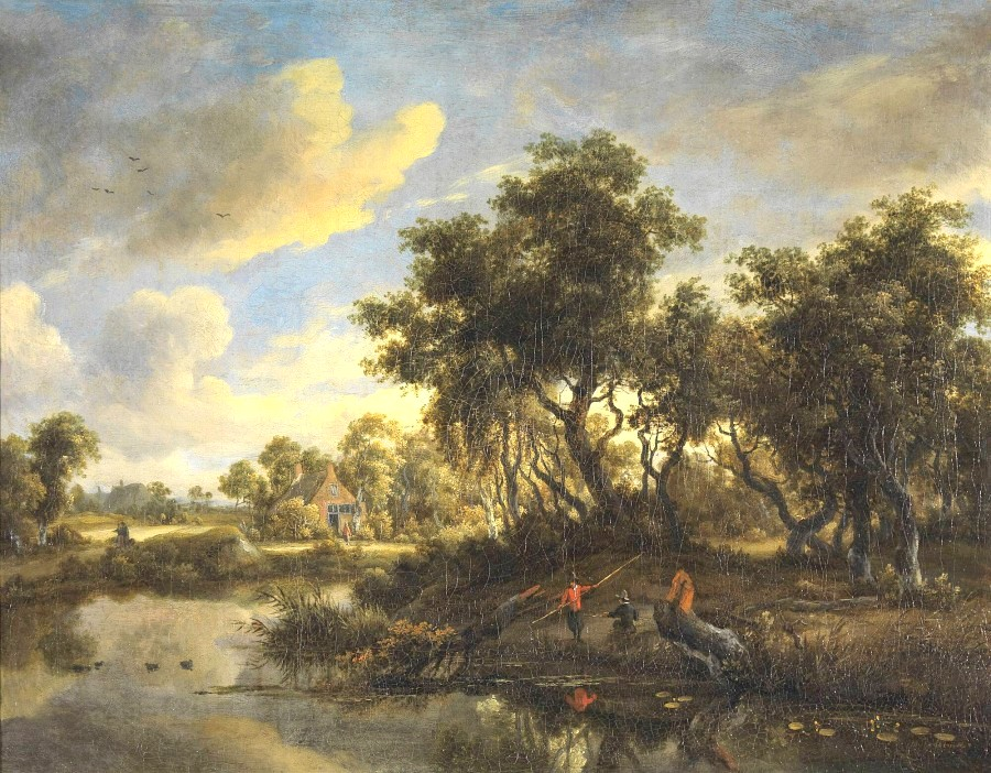Meindert Hobbema – Museum Bojimans van Beuningen 1307 (OK). Title: Zonnig landschap met boerenwoning. Date: c. 1660-1670. Materials: oil on canvas. Dimensions: 64.5 x 50.5 cm. Acquisition date: 1847. Nr.: 1307 (OK). Source: http://collectie.boijmans.nl/images/900x450_1907.jpg. I have changed the light and contrast of the original photo.