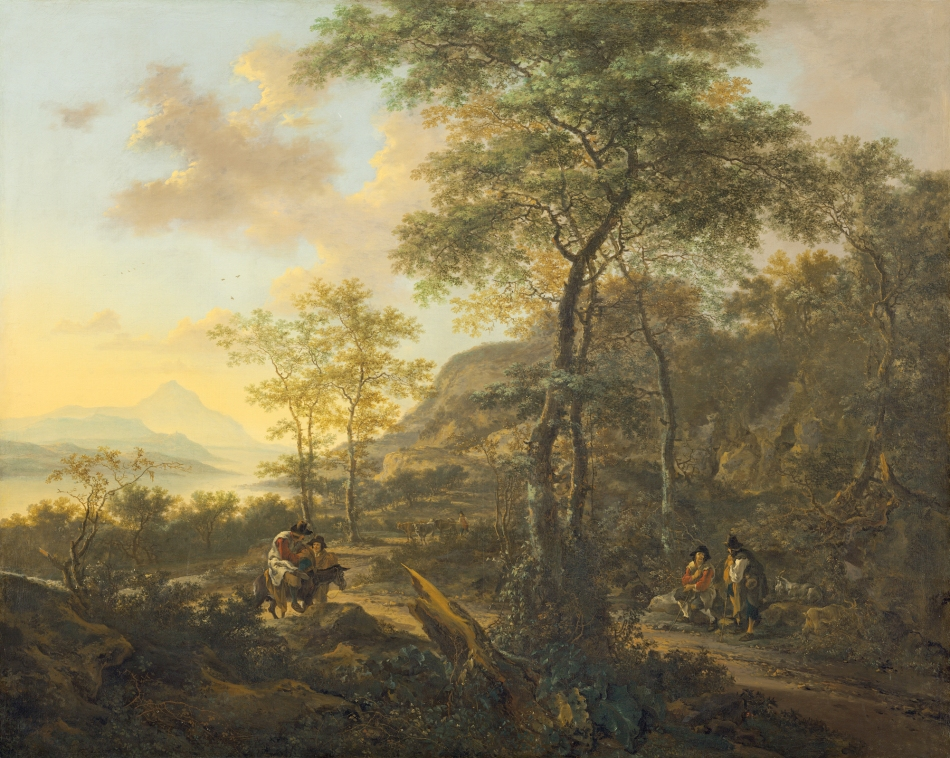 Jan Both – National Gallery of Art 2000.91.1. Title: An Italianate Evening Landscape. Date: c. 1650. Materials: oil on canvas. Dimensions: 138.5 x 172.7 cm. Nr.: 2000.91.1. Source: http://www.nga.gov/content/ngaweb/Collection/art-object-page.117150.html. I have changed the light and contrast of the original photo.