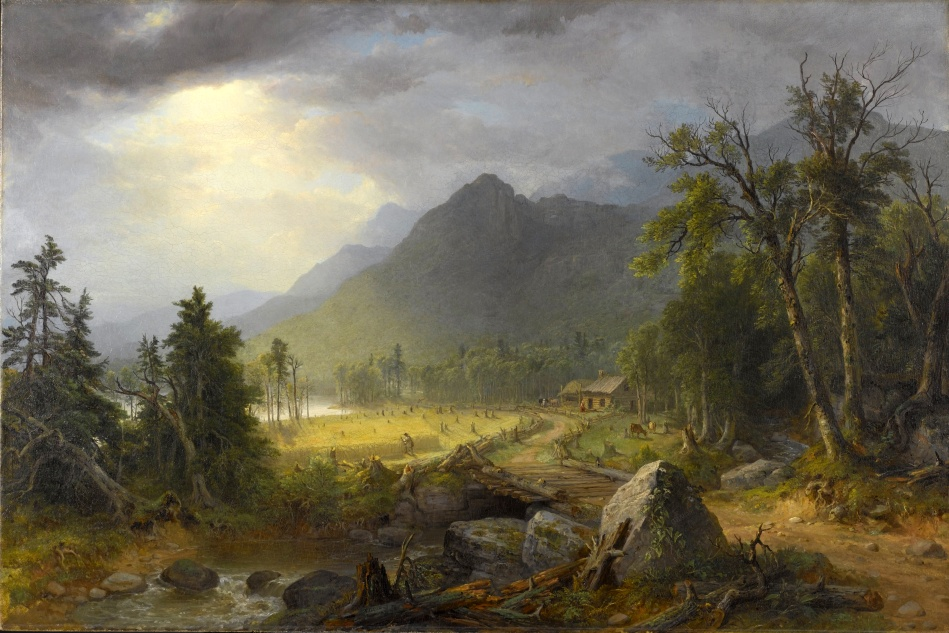 Asher Brown Durand – Brooklyn Museum 97.12. Title: The First Harvest in the Wilderness. Date: 1855. Materials: oil on canvas. Dimensions: 80.3 x 122 cm. Inscriptions: A B Durand, pt./1855. Nr.: 97.12.  Source: https://commons.wikimedia.org/wiki/File:Asher_B._Durand_-_The_First_Harvest_in_the_Wilderness_-_Google_Art_Project.jpg. I have changed the contrast of the original photo.