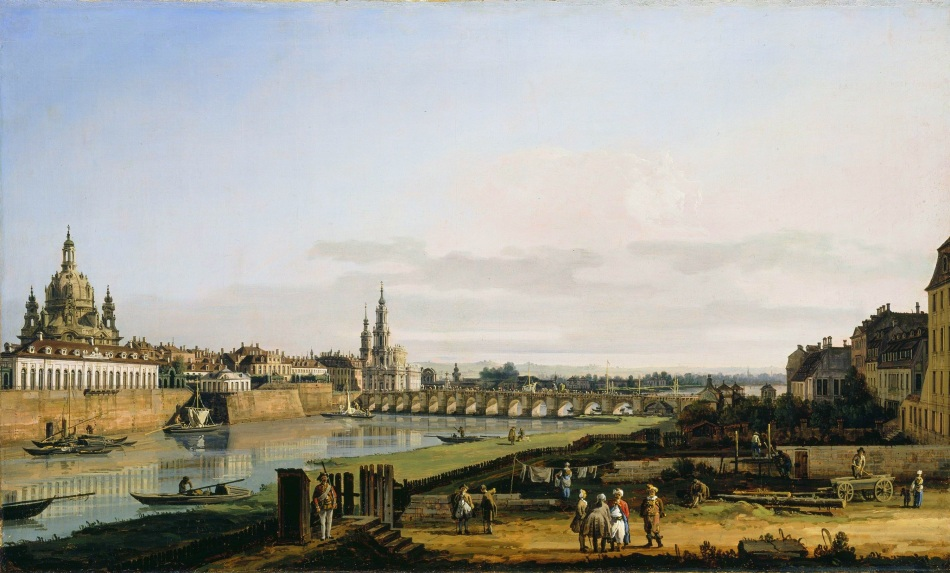 Bernardo Bellotto – National Gallery of Ireland NGI.181. Title: Dresden from the Right Bank of the Elbe, above the Augustus Bridge. Date: c. 1750. Materials: oil on canvas. Dimensions: 51.5 x 84 cm. Acquisition date: 1883. Nr.: NGI.181. Source: https://commons.wikimedia.org/wiki/File:Bernardo_Bellotto,_il_Canaletto_-_Dresden_vom_rechten_Elbufer_mit_der_Augustusbr%C3%BCcke_(National_Gallery_of_Ireland).jpg. I have changed the light and colors of the original photo.