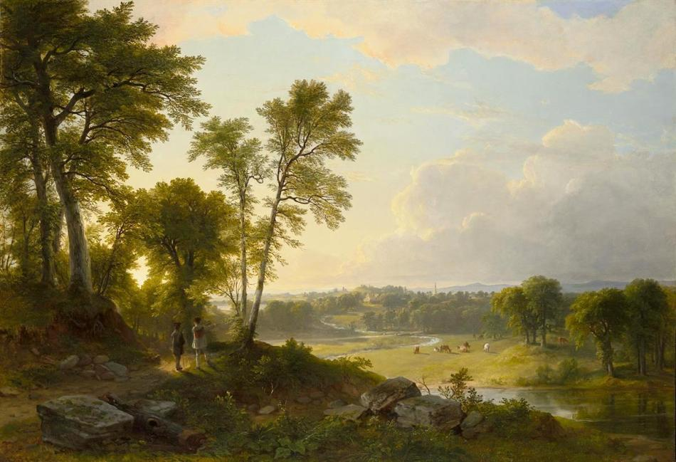 Asher Brown Durand – Wadsworth Atheneum Museum of Art 1948.119. Title: View Toward the Hudson Valley. Date: 1851. Materials: oil on canvas. Dimensions: 84.1 x 122 cm. Nr.: 1948.119. Source: http://argus.wadsworthatheneum.org/Wadsworth_Atheneum_ArgusNet/ViewImage.aspx?template=Image&field=DerivedIm3&hash=e13c13c61fe519cbfaefe5714f08a910&lang=en-US. I have changed the light and contrast of the original photo.