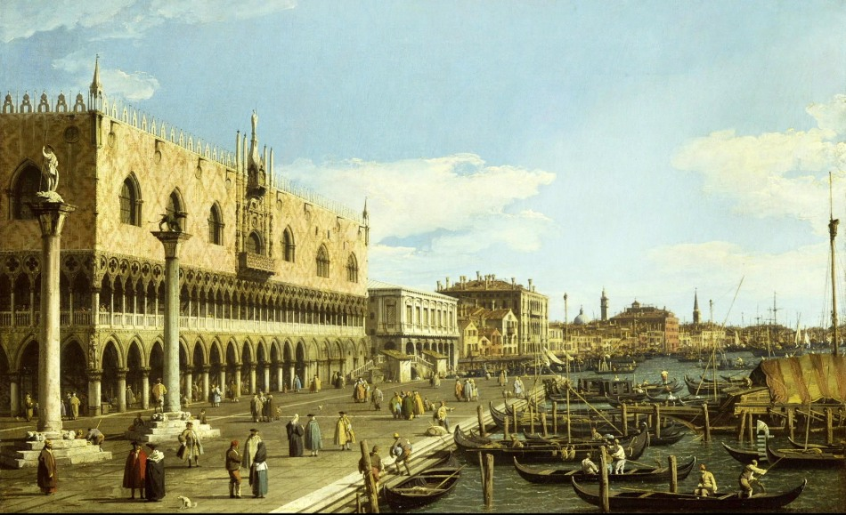 Canaletto – The Wallace Collection P509. Title: Venice: the Riva degli Schiavoni. Date: c. 1740-1745. Materials: oil on canvas. Dimensions: 58.2 x 93.5 cm. Nr. P509. Source: http://www.museum-hd.com/museum-hd/images/1000950_en/img_0009.jpg. I have changed the light, contrast and colors of the original photo.