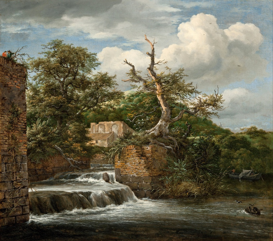 Jacob van Ruisdeal – Art Gallery of South Australia 853P6. Title: Landscape with a Mill-run and Ruins. Date: c. 1653. Materials: oil on canvas. Dimensions: 59.3 x 66.1 cm. Nr.: 853P6.  Source: https://commons.wikimedia.org/wiki/File:Jacob_van_Ruisdael_-_Landscape_with_a_mill-run_and_ruins_-_Google_Art_Project.jpg-_Google_Art_Project.jpg. I have changed the light of the original photo.