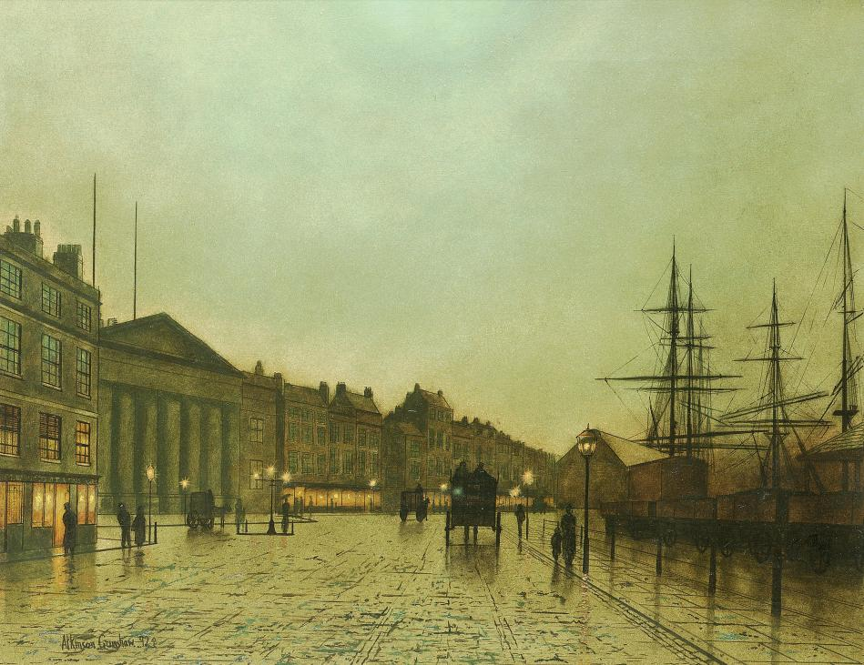 John Atkinson Grimshaw – private collection. Title: The Custom House, Liverpool, Looking South. Date: 1892. Materials: oil on canvas. Dimensions: 35.5 x 45.5 cm. Inscriptions: Atkinson Grimshaw 92. (lower left). Source: http://www.artscroll.ru/Images/2008/j/John%20Atkinson%20Grimshaw/000106.jpg.