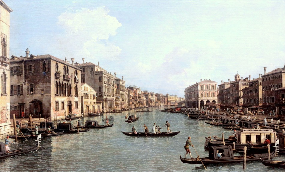 Canaletto – Gemäldegalerie Berlin Streit 3. Title: Der Canal Grande mit Blick in südöstlicher Richtung auf die Rialtobrücke. Date: 1758-1763. Materials: oil on canvas. Dimensions: 118 x 188 cm. Nr.: Streit 3. Source: https://www.flickr.com/photos/mazanto/14893865585/in/album-72157629968563682/. I have changed the light, contrast and colors of the original photo.