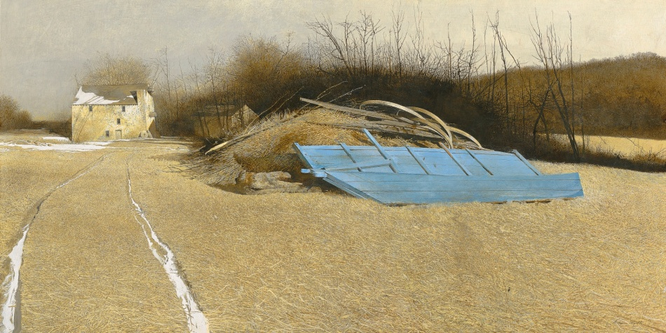 Andrew Wyeth – private collection. Title: Flood Plain. Date: 1986. Materials: tempera on panel. Dimensions: 62.2 x 121.9 cm. Inscriptions: Andrew Wyeth (lower right). Sold by Sotheby's in New York, on November 18, 2005. Source: https://www.flickr.com/photos/gandalfsgallery/31923084962/sizes/o/.