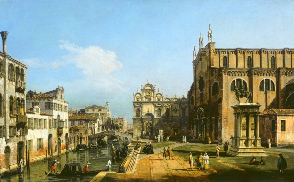 Bernardo Bellotto – The National Gallery of Art 1942.9.7. Title: The Campo di SS. Giovanni e Paolo, Venice. Date: 1743/1747. Materials: oil on canvas. Dimensions: 70.8 x 111 cm. Nr.: 1942.9.7. Source: http://www.nga.gov/content/ngaweb/Collection/art-object-page.1144.html. I have changed the light and colors of the original photo.
