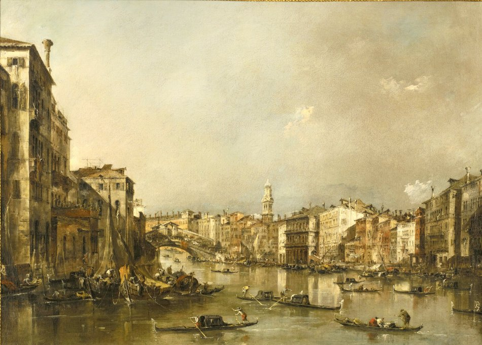 Francesco Guardi – The Minneapolis Institute of Art G307. Title: View up the Grand Canal toward the Rialto. Date: c.1785. Materials: oil on canvas. Dimensions: 65.4 x 90.1 cm. Nr.: G307. Source: https://commons.wikimedia.org/wiki/File:Francesco_Guardi_-_View_up_the_Grand_Canal_Toward_the_Rialto_-_56.41_-_Minneapolis_Institute_of_Arts.jpg. I have changed the light, contrast and colors of the original photo.