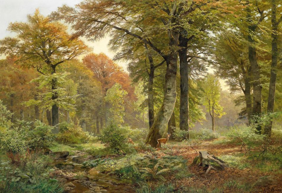 Heinrich Böhmer – private collection. Title: Waldlichtung mit Rehwild. Date: c. 1930. Materials: oil on canvas. Dimensions: 99.5 x 145 cm. Source: https://commons.wikimedia.org/wiki/File:Heinrich_B%C3%B6hmer_Waldlichtung_mit_Rehwild.jpg. I have changed the light and contrast of the original photo.